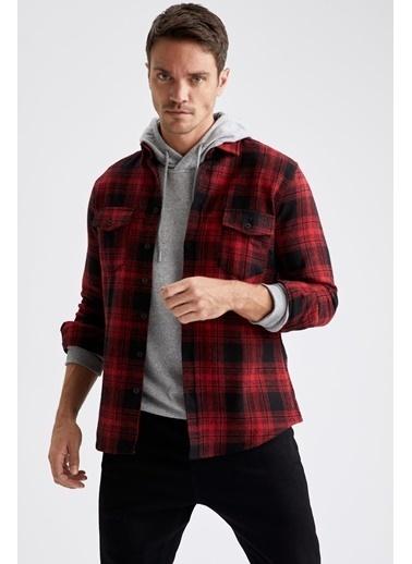 DeFacto Ekose Uzun Kollu Modern Fit Oduncu Gömlek Kırmızı